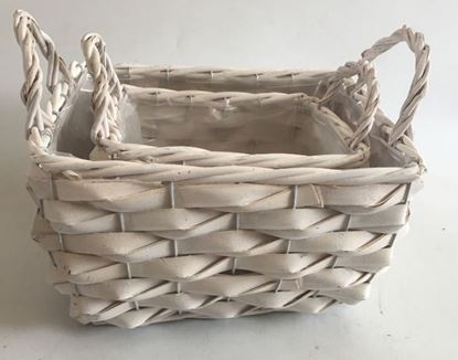 Picture of set of baskets with waterproof lining  27*22*17/24H  cm white set 1/2