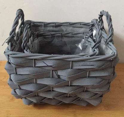Picture of set of baskets with waterproof lining 57*22*15h cm grey